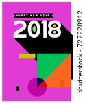 happy new year 2018 colorful... | Shutterstock .eps vector #727228912