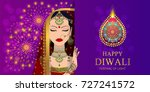 happy diwali festival card with ... | Shutterstock .eps vector #727241572