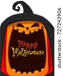 orange pumpkin carved phantom   ... | Shutterstock .eps vector #727243906