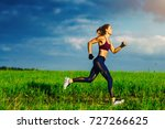 young slim sports woman running ... | Shutterstock . vector #727266625