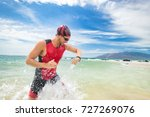 smartwatch triathlon swimming... | Shutterstock . vector #727269076