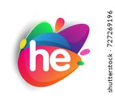 letter he logo with colorful... | Shutterstock .eps vector #727269196
