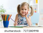 cute happy little child girl... | Shutterstock . vector #727280998