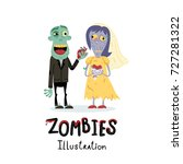 funny married zombie couple... | Shutterstock .eps vector #727281322