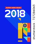 happy new year 2018 colorful... | Shutterstock .eps vector #727286065