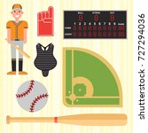 cartoon baseball player icons... | Shutterstock .eps vector #727294036