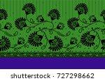 seamless textile floral border | Shutterstock . vector #727298662