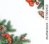holiday postcard. xmas frame of ... | Shutterstock . vector #727302412