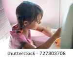 young girl playing with the... | Shutterstock . vector #727303708