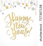 happy new year card with hand... | Shutterstock .eps vector #727307158