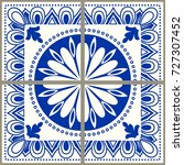 majolica pottery tile  blue and ... | Shutterstock .eps vector #727307452