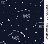aries. seamless pattern with... | Shutterstock .eps vector #727308856