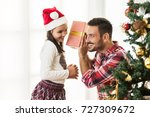 father and daughter exchanging... | Shutterstock . vector #727309672