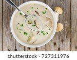 Small photo of Portion of fresh Porcini Soup close-up shot; selective focus