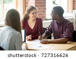 happy multiethnic couple... | Shutterstock . vector #727316626