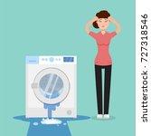 broken washing machine and sad...   Shutterstock .eps vector #727318546