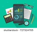 analytics data results on... | Shutterstock .eps vector #727324705