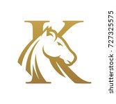 Stock vector golden horse initial k vector logo 727325575
