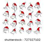 set collection of xmas happy... | Shutterstock .eps vector #727327102