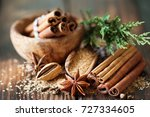 traditional christmas spices ... | Shutterstock . vector #727334605