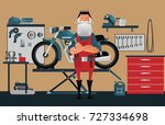 a classic garage for motorcycle ... | Shutterstock .eps vector #727334698