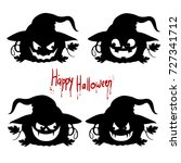 collection of black silhouettes ... | Shutterstock .eps vector #727341712
