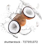 coconuts and water splashes on... | Shutterstock . vector #727351372