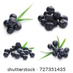 collage of acai berries on... | Shutterstock . vector #727351435