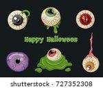 Halloween Set Of Eye Cartoon...
