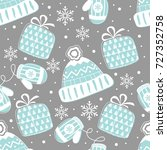 seamless pattern with christmas ... | Shutterstock .eps vector #727352758