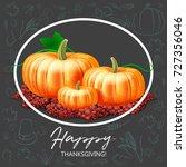 ripe pumpkin vegetables at soil ... | Shutterstock .eps vector #727356046
