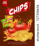 nice and creative chips packing ... | Shutterstock .eps vector #727358656