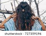 beautiful young woman posing... | Shutterstock . vector #727359196