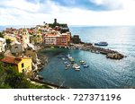 vernazza  italy  one of the... | Shutterstock . vector #727371196