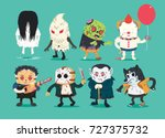 scary halloween design set with ... | Shutterstock .eps vector #727375732