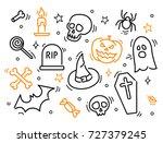 set of halloween line icons.... | Shutterstock .eps vector #727379245