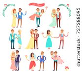 wedding set of icons ... | Shutterstock .eps vector #727388095