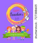 happy teachers day ... | Shutterstock .eps vector #727388605