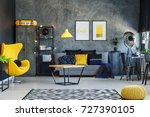 yellow lamp above table in... | Shutterstock . vector #727390105