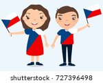 smiling chilldren  boy and girl ... | Shutterstock . vector #727396498