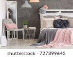 pink pillow on grey modern... | Shutterstock . vector #727399642