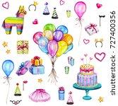 watercolor happy birthday... | Shutterstock . vector #727400356