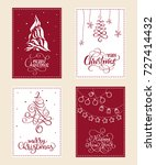 set of christmas holiday... | Shutterstock .eps vector #727414432