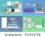 house interior  kitchen  living ... | Shutterstock .eps vector #727419778