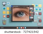 Stock photo pictures editing and image retouching using a photo editor pixels close up collage and paper cut 727421542