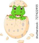 happy dinosour hatch cartoon | Shutterstock .eps vector #727422955