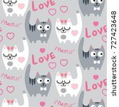 seamless pattern with love cats.... | Shutterstock .eps vector #727423648