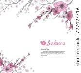 sakura branch with sweet pink... | Shutterstock .eps vector #727427716