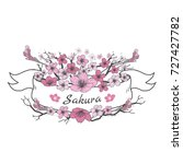 flower ribbon of sakura.... | Shutterstock .eps vector #727427782
