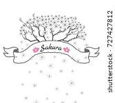 flower ribbon of sakura.... | Shutterstock .eps vector #727427812